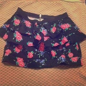Black with flowers Peplum Skirt